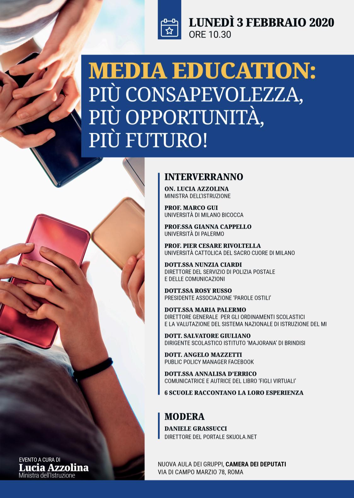 """Risultato immagini per """"MEDIA EDUCATION: più consapevolezza, più opportunità, più futuro!"""". A Roma il convegno presieduto dalla Ministra Lucia Azzolina."""